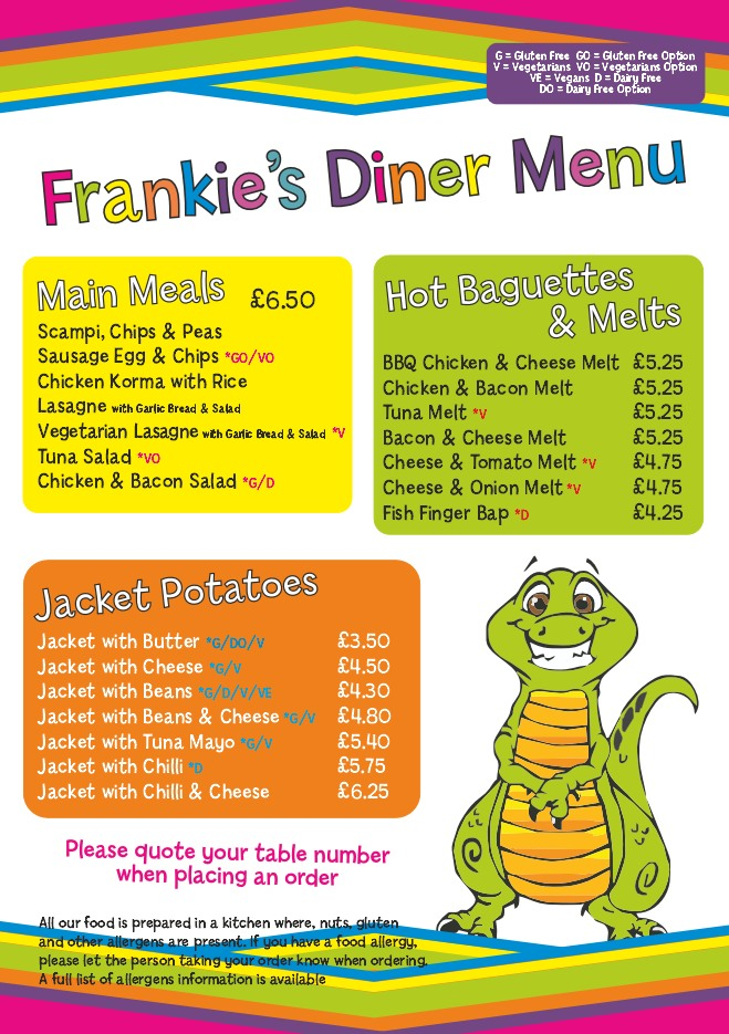 Please use the left and right arrows to browser Frankie's Fantastic Diner Menu.